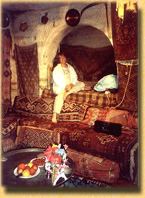 Barbara Sher in a beautiful cave home.